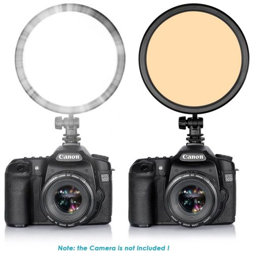 112 Pieces LED Round Dimmable Ultra Thin Panel On-camera Video Light for all camera